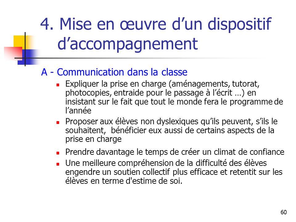 60 4. Mise en œuvre dun dispositif daccompagnement A - Communication dans la classe Expliquer la prise en charge (aménagements, tutorat, photocopies,