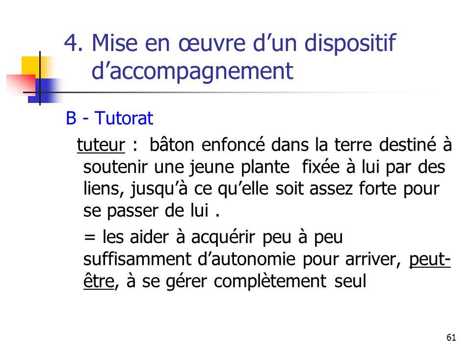 61 4. Mise en œuvre dun dispositif daccompagnement B - Tutorat tuteur : bâton enfoncé dans la terre destiné à soutenir une jeune plante fixée à lui pa