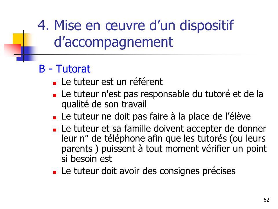 62 4. Mise en œuvre dun dispositif daccompagnement B - Tutorat Le tuteur est un référent Le tuteur n'est pas responsable du tutoré et de la qualité de