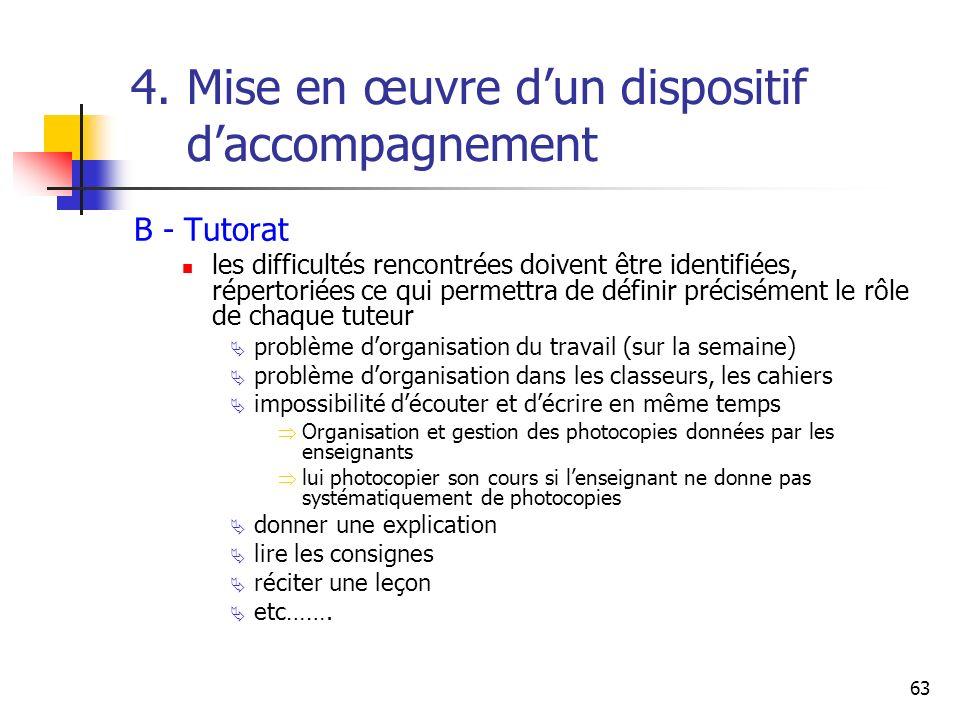 63 4. Mise en œuvre dun dispositif daccompagnement B - Tutorat les difficultés rencontrées doivent être identifiées, répertoriées ce qui permettra de