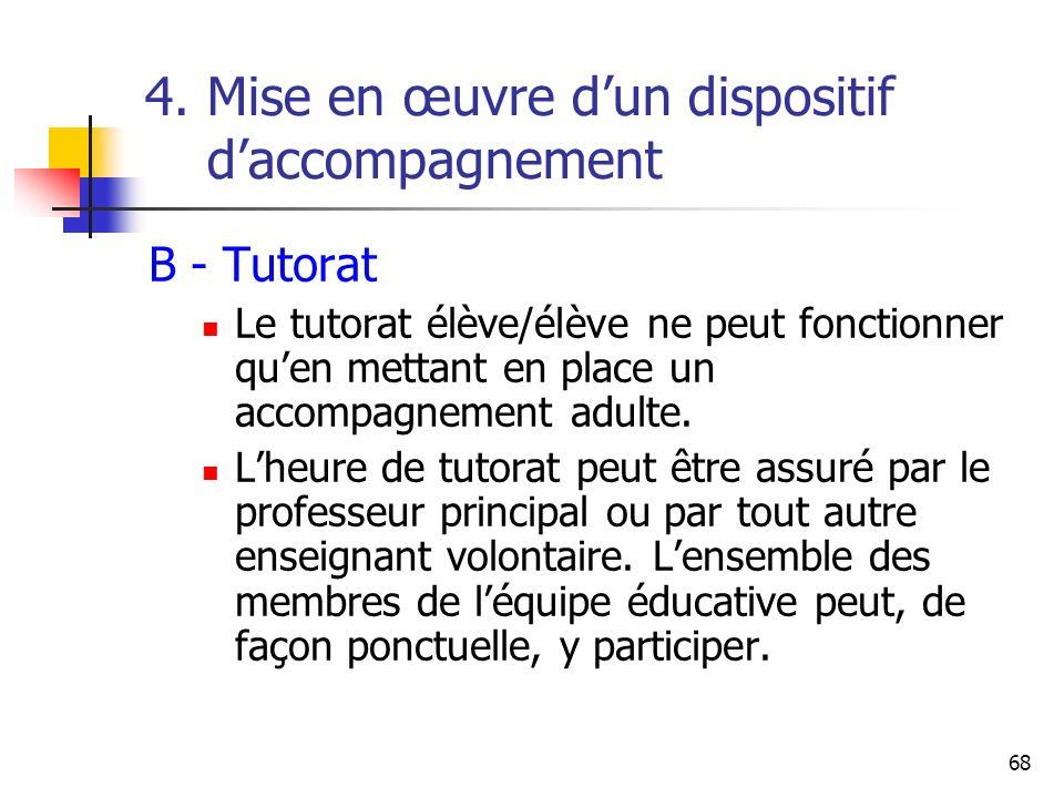 68 4. Mise en œuvre dun dispositif daccompagnement B - Tutorat Le tutorat élève/élève ne peut fonctionner quen mettant en place un accompagnement adul