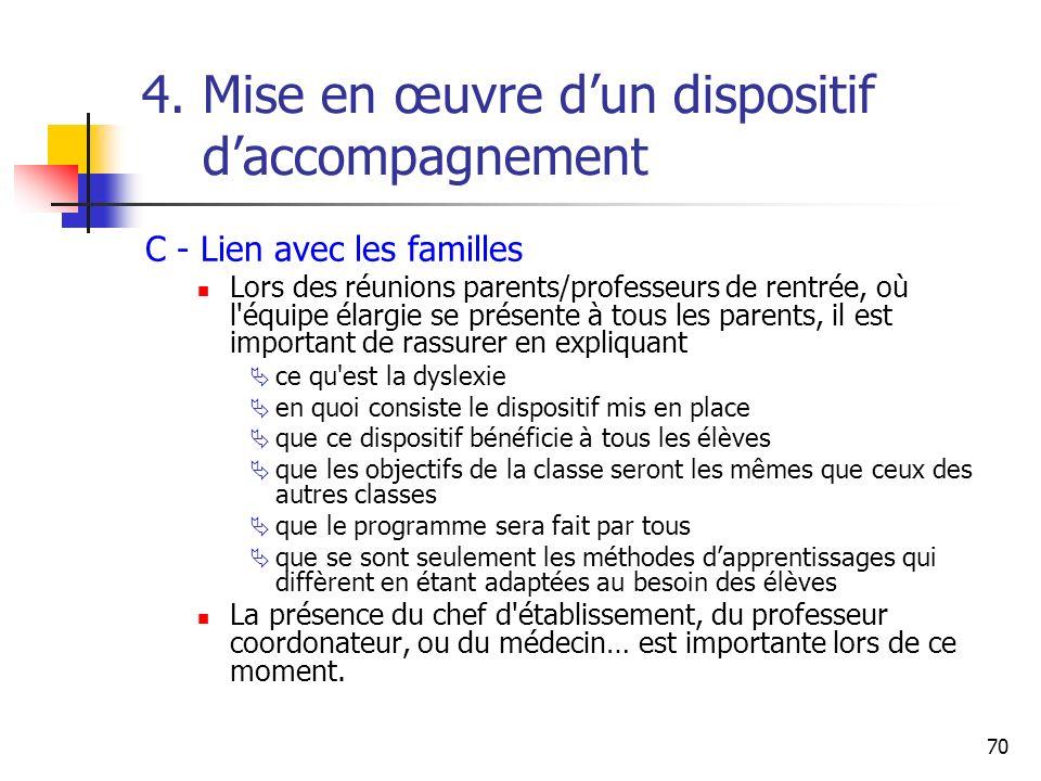 70 4. Mise en œuvre dun dispositif daccompagnement C - Lien avec les familles Lors des réunions parents/professeurs de rentrée, où l'équipe élargie se