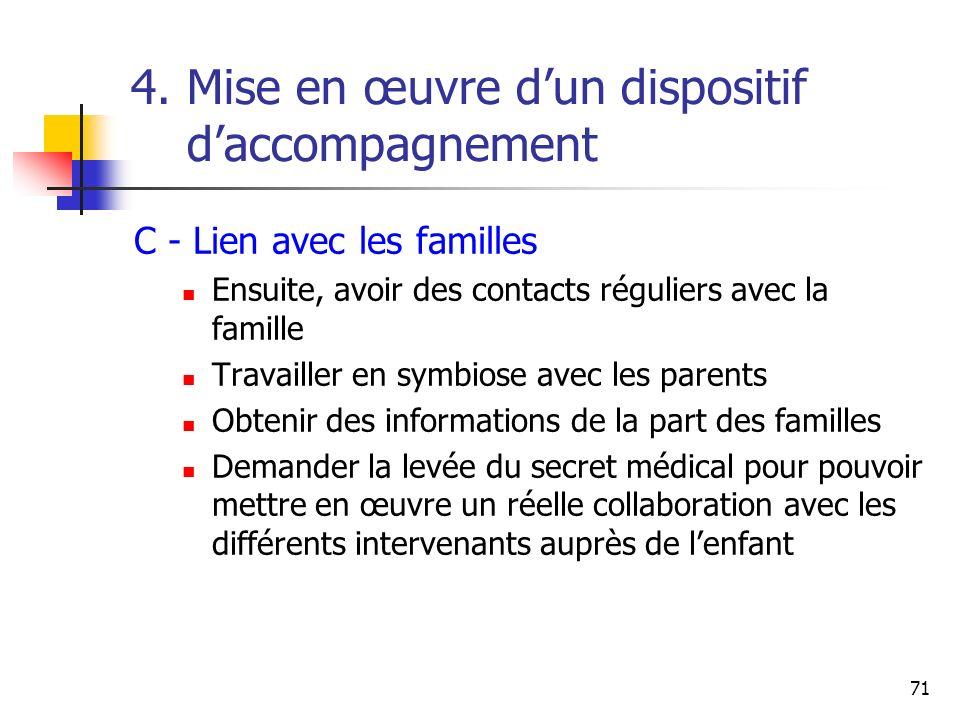 71 4. Mise en œuvre dun dispositif daccompagnement C - Lien avec les familles Ensuite, avoir des contacts réguliers avec la famille Travailler en symb