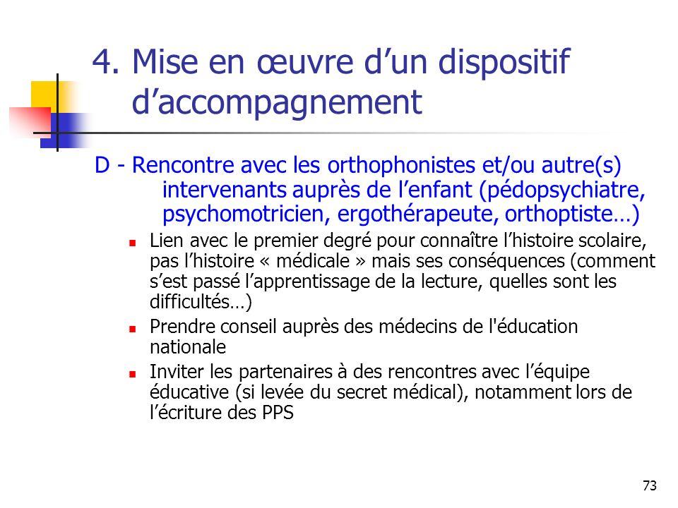 73 4. Mise en œuvre dun dispositif daccompagnement D - Rencontre avec les orthophonistes et/ou autre(s) intervenants auprès de lenfant (pédopsychiatre