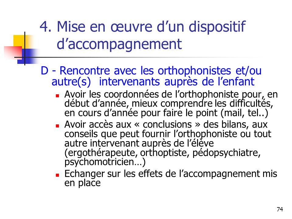 74 4. Mise en œuvre dun dispositif daccompagnement D - Rencontre avec les orthophonistes et/ou autre(s) intervenants auprès de lenfant Avoir les coord