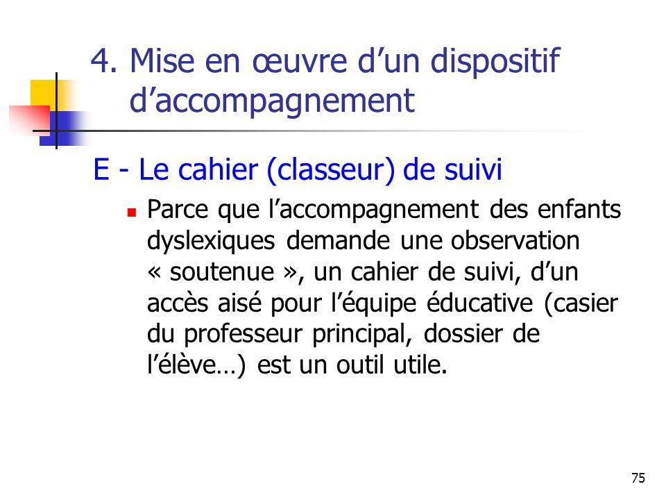 75 4. Mise en œuvre dun dispositif daccompagnement E - Le cahier (classeur) de suivi Parce que laccompagnement des enfants dyslexiques demande une obs