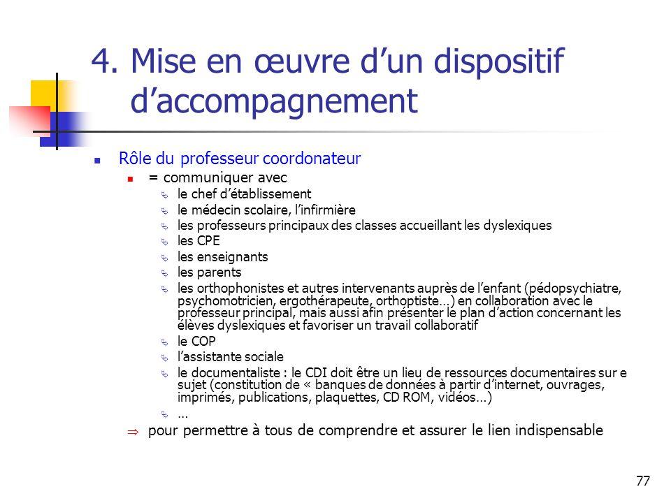 77 4. Mise en œuvre dun dispositif daccompagnement Rôle du professeur coordonateur = communiquer avec le chef détablissement le médecin scolaire, linf