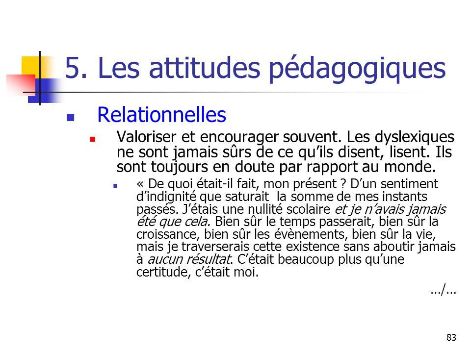 83 5. Les attitudes pédagogiques Relationnelles Valoriser et encourager souvent. Les dyslexiques ne sont jamais sûrs de ce quils disent, lisent. Ils s