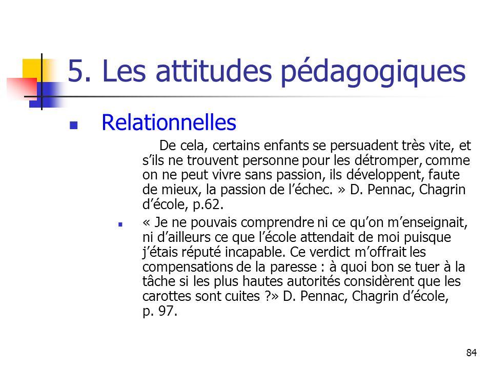 84 5. Les attitudes pédagogiques Relationnelles De cela, certains enfants se persuadent très vite, et sils ne trouvent personne pour les détromper, co