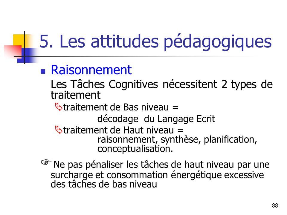 88 5. Les attitudes pédagogiques Raisonnement Les Tâches Cognitives nécessitent 2 types de traitement traitement de Bas niveau = décodage du Langage E