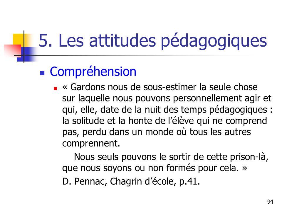94 5. Les attitudes pédagogiques Compréhension « Gardons nous de sous-estimer la seule chose sur laquelle nous pouvons personnellement agir et qui, el