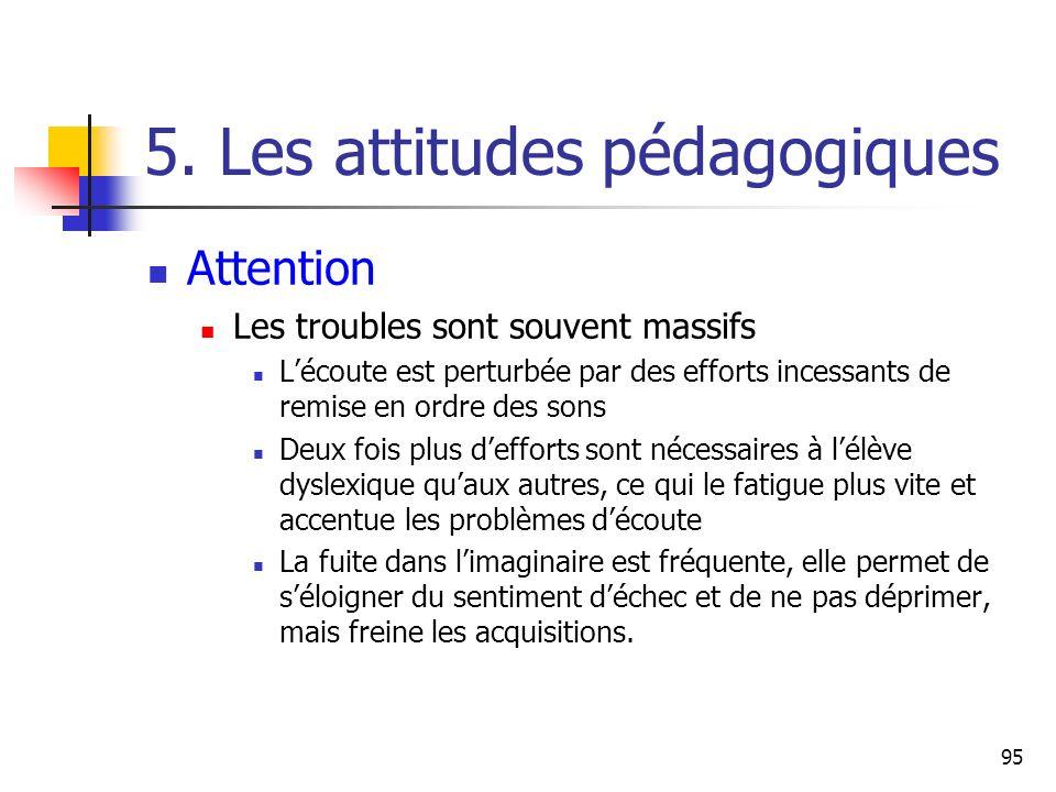 95 5. Les attitudes pédagogiques Attention Les troubles sont souvent massifs Lécoute est perturbée par des efforts incessants de remise en ordre des s