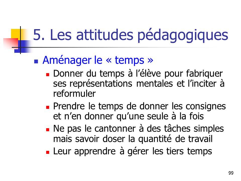 99 5. Les attitudes pédagogiques Aménager le « temps » Donner du temps à lélève pour fabriquer ses représentations mentales et linciter à reformuler P