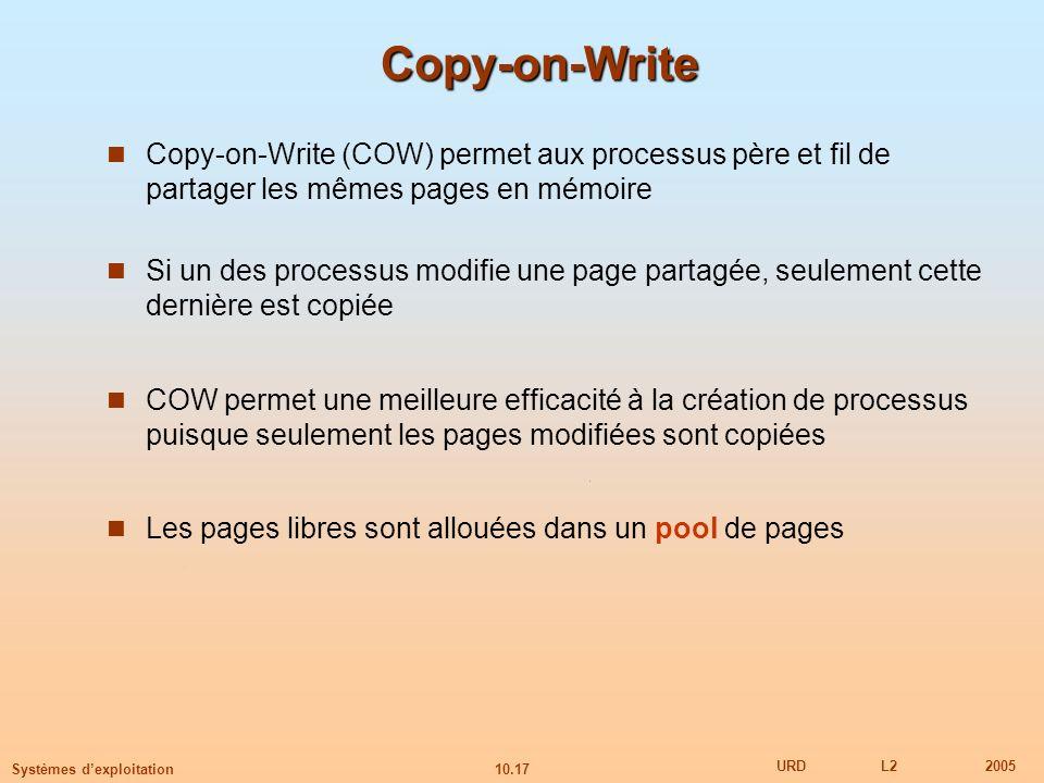 10.17 URDL22005 Systèmes dexploitation Copy-on-Write Copy-on-Write (COW) permet aux processus père et fil de partager les mêmes pages en mémoire Si un