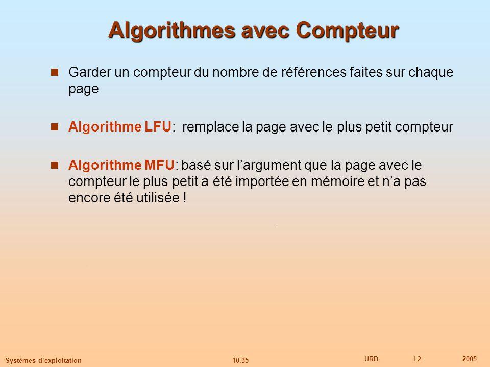 10.35 URDL22005 Systèmes dexploitation Algorithmes avec Compteur Garder un compteur du nombre de références faites sur chaque page Algorithme LFU: rem