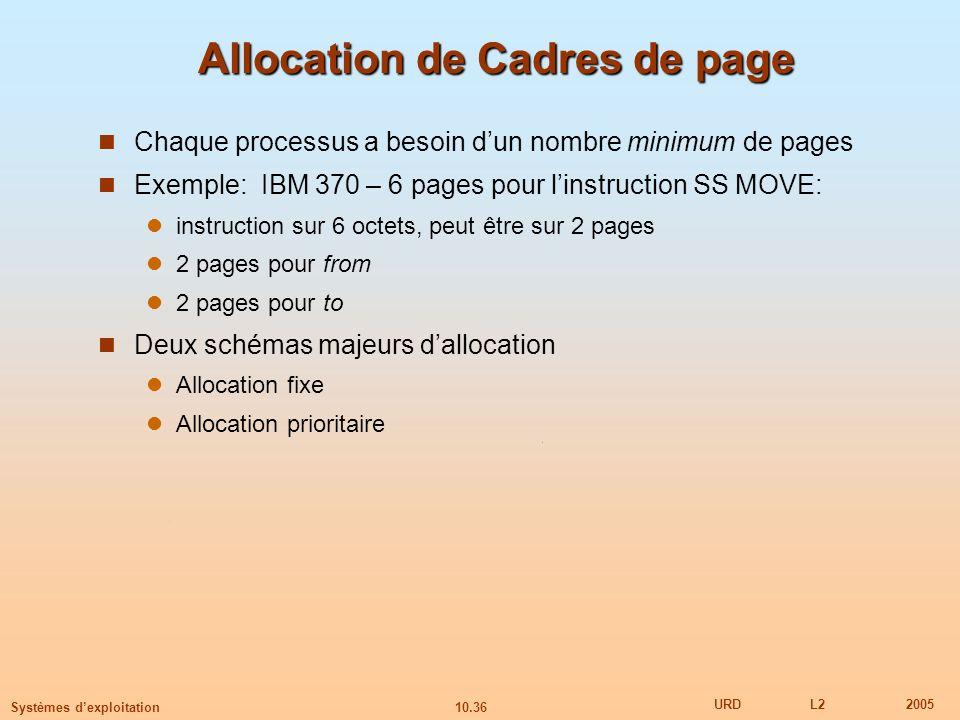 10.36 URDL22005 Systèmes dexploitation Allocation de Cadres de page Chaque processus a besoin dun nombre minimum de pages Exemple: IBM 370 – 6 pages p
