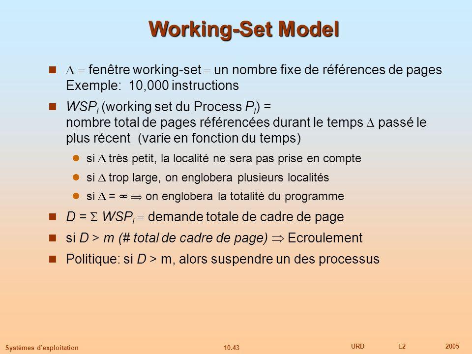10.43 URDL22005 Systèmes dexploitation Working-Set Model fenêtre working-set un nombre fixe de références de pages Exemple: 10,000 instructions WSP i