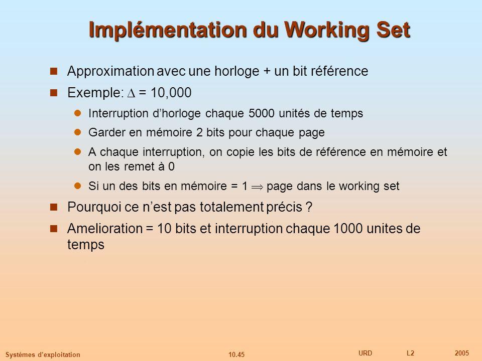 10.45 URDL22005 Systèmes dexploitation Implémentation du Working Set Approximation avec une horloge + un bit référence Exemple: = 10,000 Interruption
