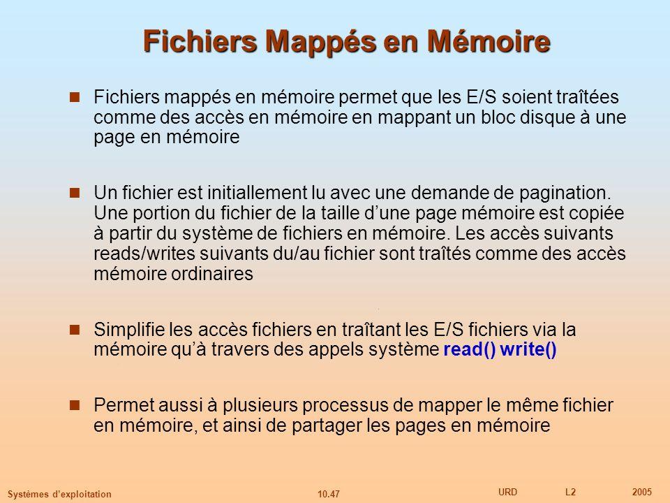10.47 URDL22005 Systèmes dexploitation Fichiers Mappés en Mémoire Fichiers mappés en mémoire permet que les E/S soient traîtées comme des accès en mém