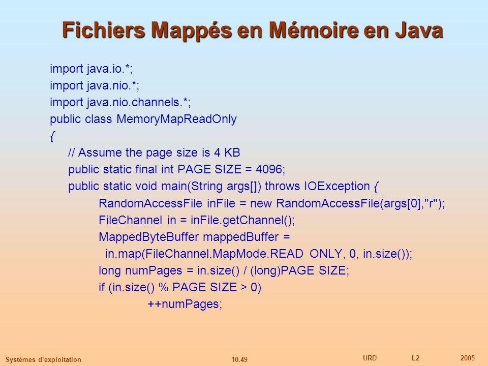 10.49 URDL22005 Systèmes dexploitation Fichiers Mappés en Mémoire en Java import java.io.*; import java.nio.*; import java.nio.channels.*; public clas