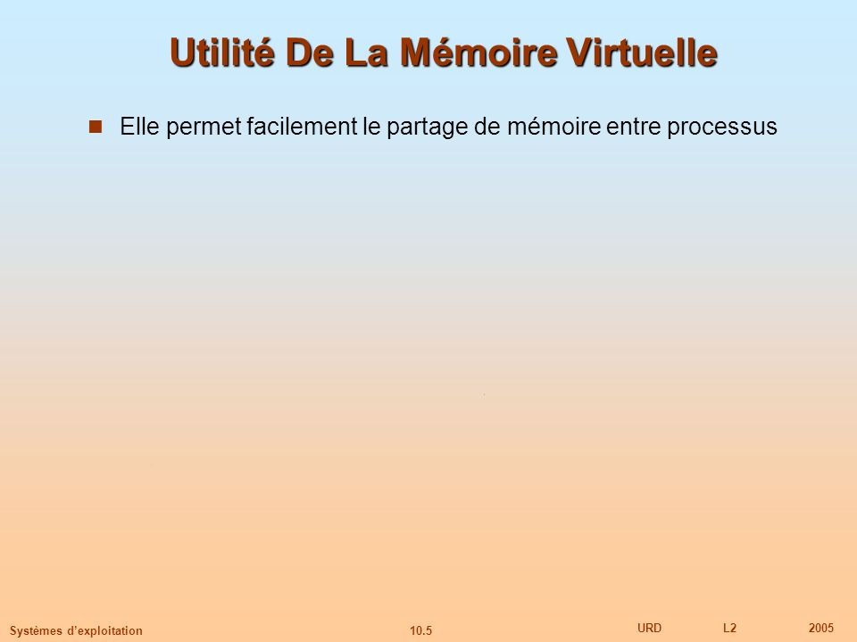 10.5 URDL22005 Systèmes dexploitation Utilité De La Mémoire Virtuelle Elle permet facilement le partage de mémoire entre processus