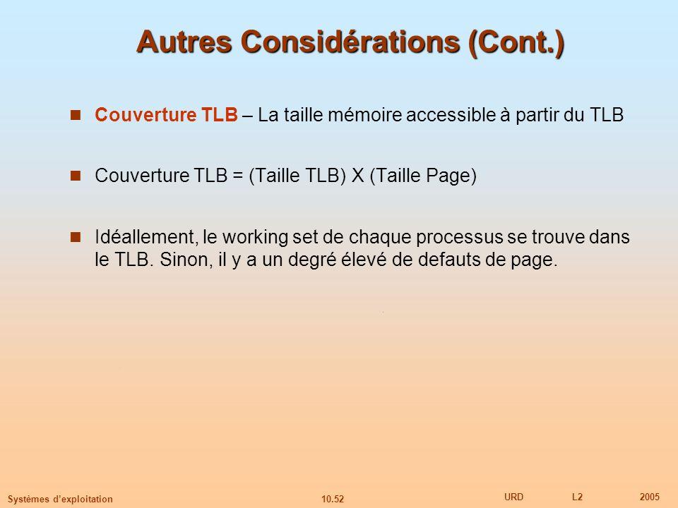 10.52 URDL22005 Systèmes dexploitation Autres Considérations (Cont.) Couverture TLB – La taille mémoire accessible à partir du TLB Couverture TLB = (T