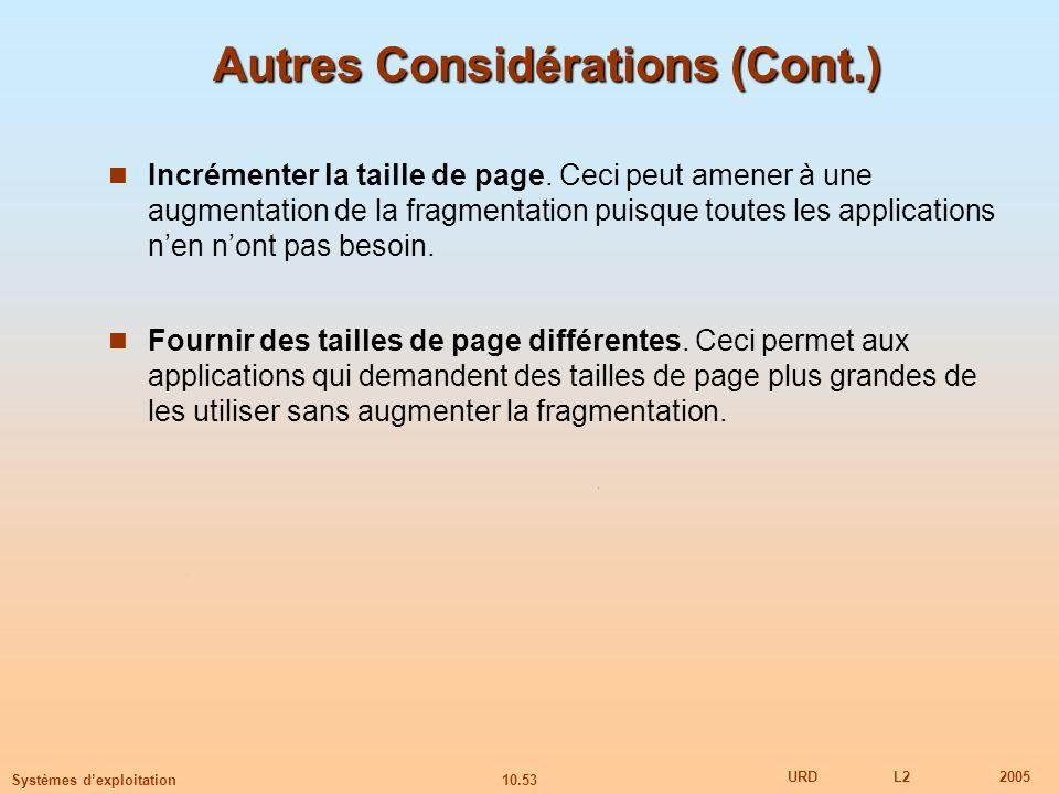 10.53 URDL22005 Systèmes dexploitation Autres Considérations (Cont.) Incrémenter la taille de page. Ceci peut amener à une augmentation de la fragment