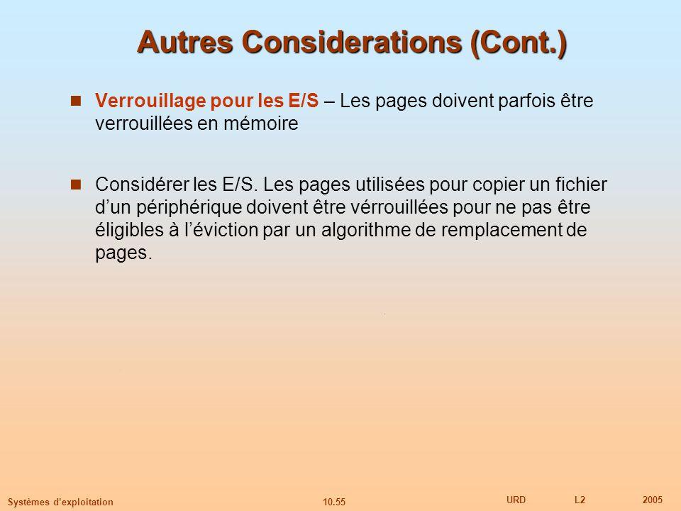 10.55 URDL22005 Systèmes dexploitation Autres Considerations (Cont.) Verrouillage pour les E/S – Les pages doivent parfois être verrouillées en mémoir