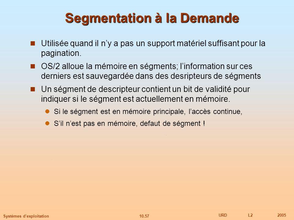 10.57 URDL22005 Systèmes dexploitation Segmentation à la Demande Utilisée quand il ny a pas un support matériel suffisant pour la pagination. OS/2 all