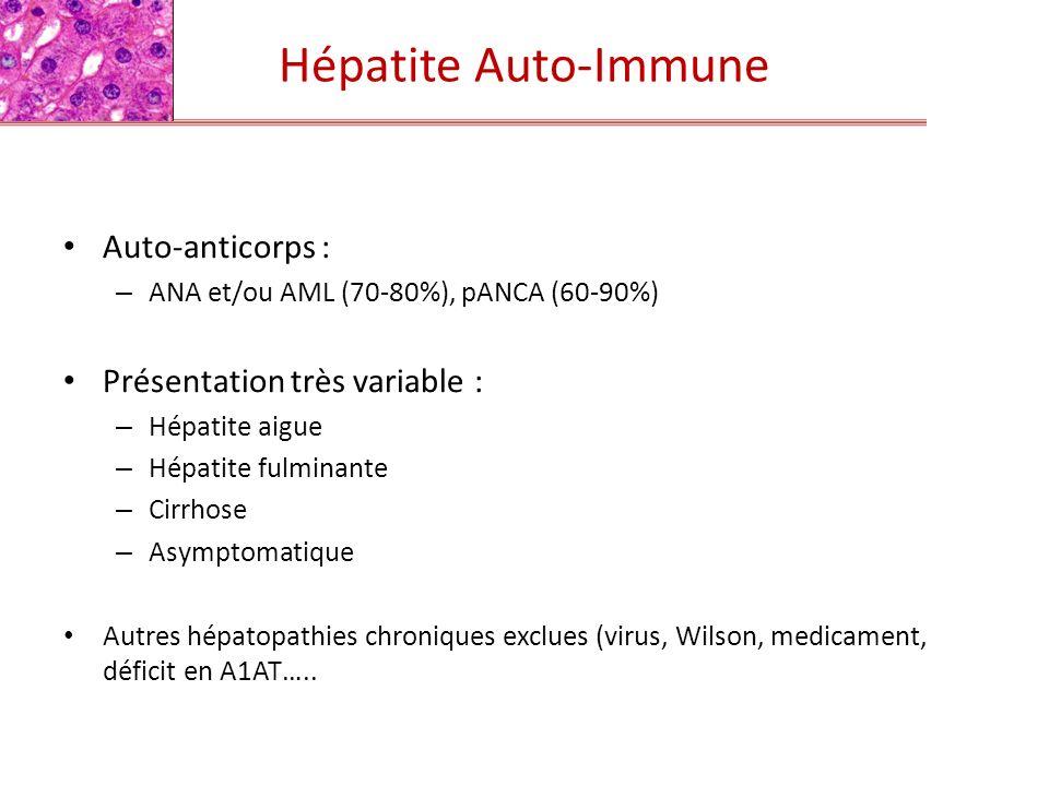 Lésions histologiques typiques : – Hépatite chronique active Hépatite dinterface* ++ Hépatite lobulaire Atteinte centro-lobulaire Régénération hepatocytaire et Hépatocytes en rosette* + Fibrose periportale extensive +/- – Infiltrat inflammatoire riche en plasmocytes * + * Critères inclus dans «The Revised International Autoimmune Hepatitis Group modified scoring system