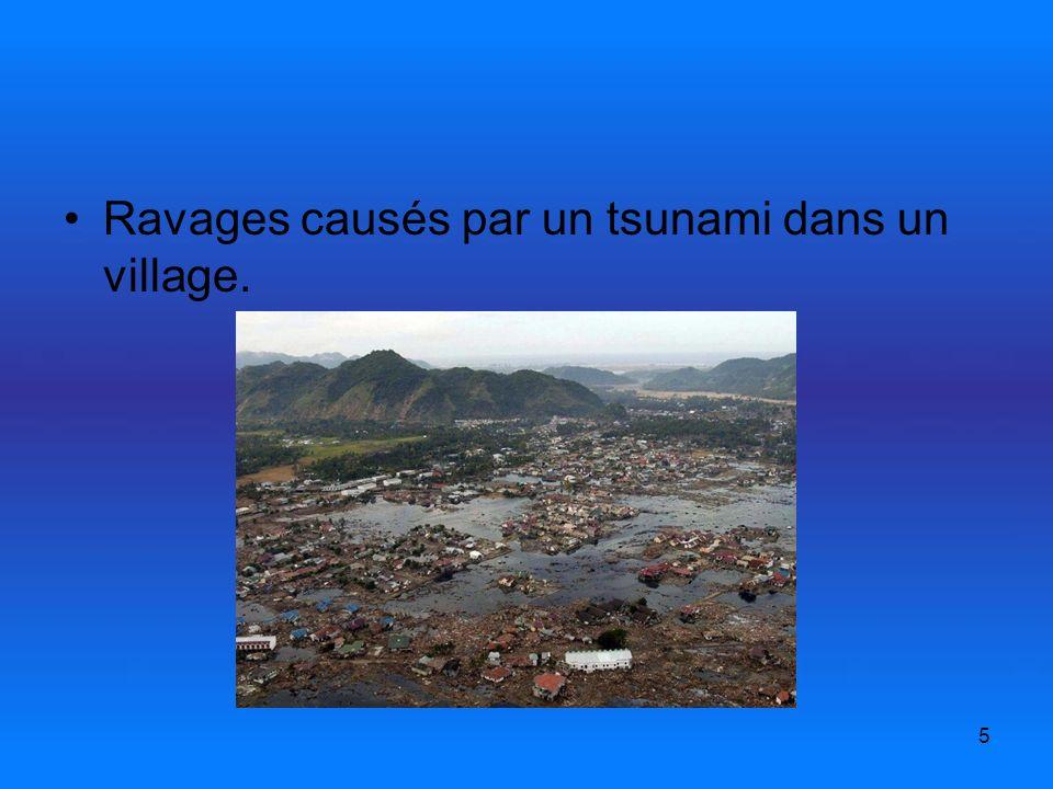 5 Ravages causés par un tsunami dans un village.