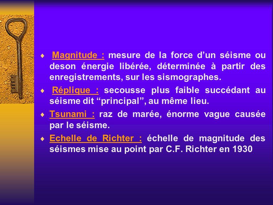 Magnitude : mesure de la force dun séisme ou deson énergie libérée, déterminée à partir des enregistrements, sur les sismographes. Réplique : secousse