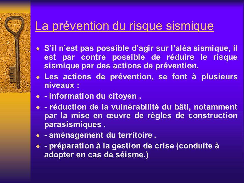 La prévention du risque sismique Sil nest pas possible dagir sur laléa sismique, il est par contre possible de réduire le risque sismique par des acti
