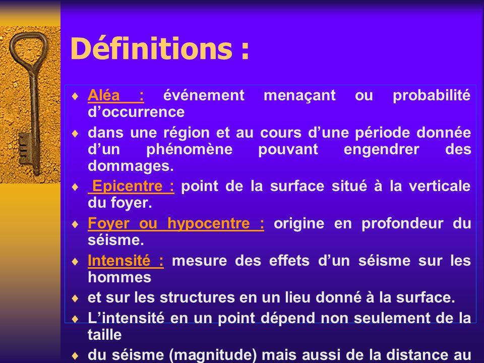 Définitions : Aléa : événement menaçant ou probabilité doccurrence dans une région et au cours dune période donnée dun phénomène pouvant engendrer des