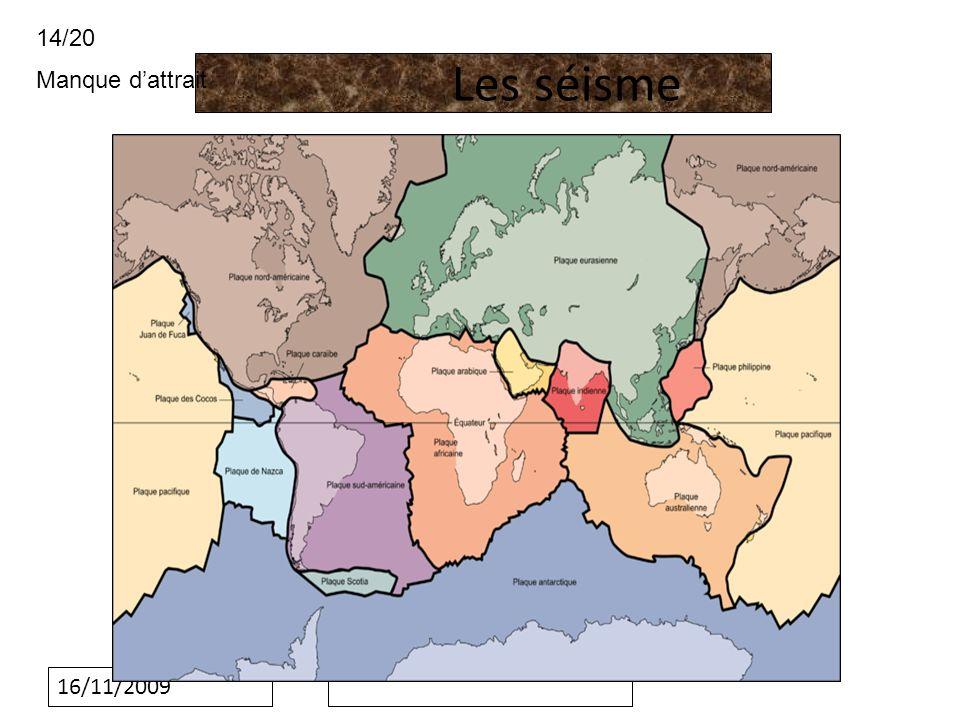 16/11/2009 1:quest-ce quun séisme -un séisme est le résultat est la libération brusque dénergie accumuler par les contrainte exercer sur les roche -le point de rupture de cette contrainte et appeler faille terrestre -le point de rupture en profondeur se nomme le foyer -il se produit de nombreux séisme par jour mais ne sont pas ressentie par les homme -Environ 100000 séisme son enregistre par année