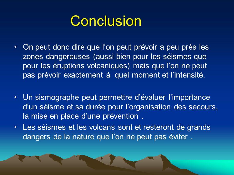 Conclusion On peut donc dire que lon peut prévoir a peu prés les zones dangereuses (aussi bien pour les séismes que pour les éruptions volcaniques) ma