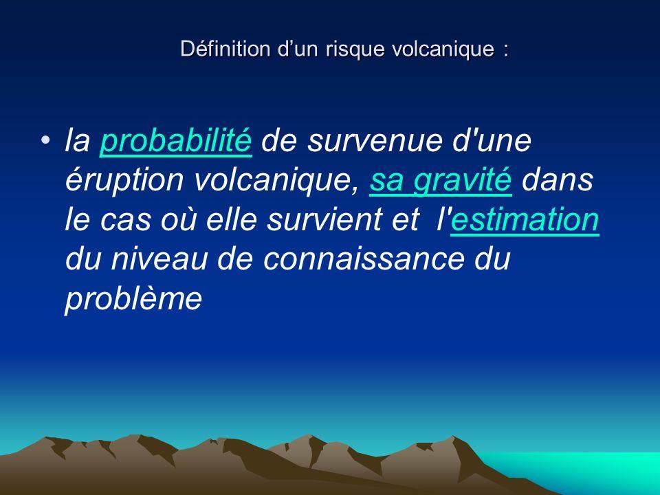 Définition dun risque volcanique : Définition dun risque volcanique : la probabilité de survenue d'une éruption volcanique, sa gravité dans le cas où