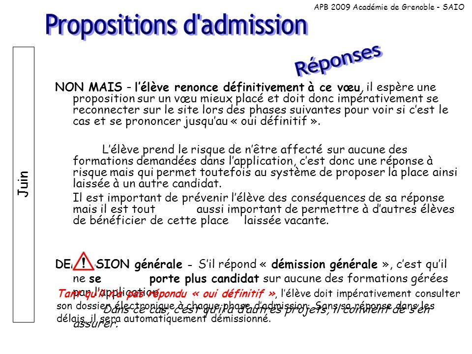 Juin Le « oui définitif » nest pas une inscription; il faut que lélève effectue ensuite linscription administrative auprès de létablissement.