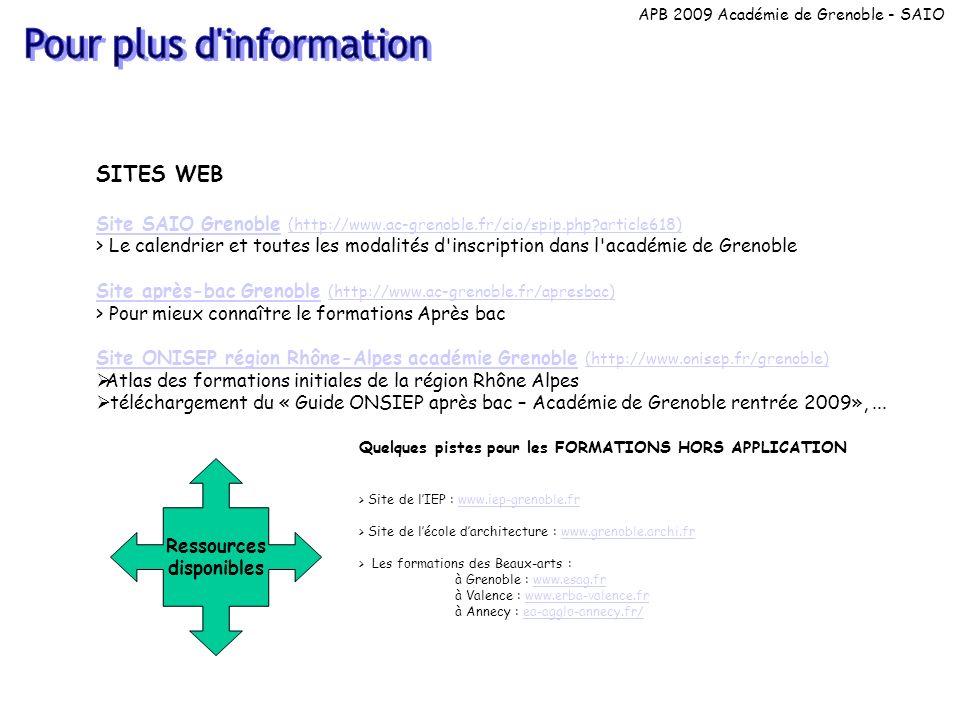 Ressources disponibles SITES WEB Site SAIO GrenobleSite SAIO Grenoble (http://www.ac-grenoble.fr/cio/spip.php?article618) (http://www.ac-grenoble.fr/cio/spip.php?article618) > Le calendrier et toutes les modalités d inscription dans l académie de Grenoble Site après-bac GrenobleSite après-bac Grenoble (http://www.ac-grenoble.fr/apresbac) (http://www.ac-grenoble.fr/apresbac) > Pour mieux connaître le formations Après bac Site ONISEP région Rhône-Alpes académie GrenobleSite ONISEP région Rhône-Alpes académie Grenoble (http://www.onisep.fr/grenoble) (http://www.onisep.fr/grenoble) Atlas des formations initiales de la région Rhône Alpes téléchargement du « Guide ONSIEP après bac – Académie de Grenoble rentrée 2009»,...