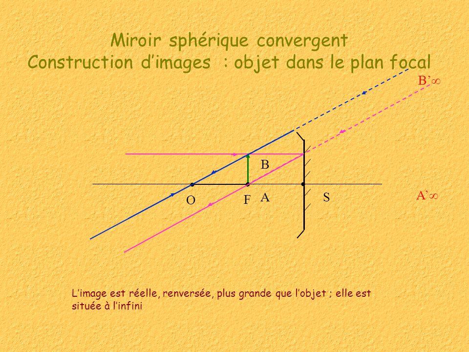 Miroir sphérique convergent Construction dimages : objet dans le plan focal Limage est réelle, renversée, plus grande que lobjet ; elle est située à l