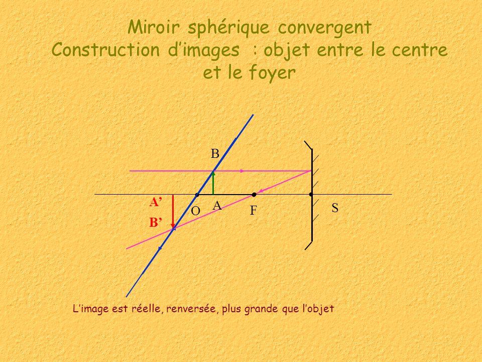 Miroir sphérique convergent Construction dimages : objet entre le centre et le foyer Limage est réelle, renversée, plus grande que lobjet F S O A B A