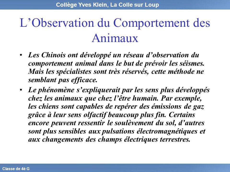 Collège Yves Klein, La Colle sur Loup Classe de 4è G LObservation du Comportement des Animaux Les Chinois ont développé un réseau dobservation du comp