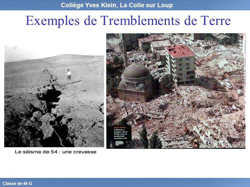 Collège Yves Klein, La Colle sur Loup Classe de 4è G Exemples de Tremblements de Terre