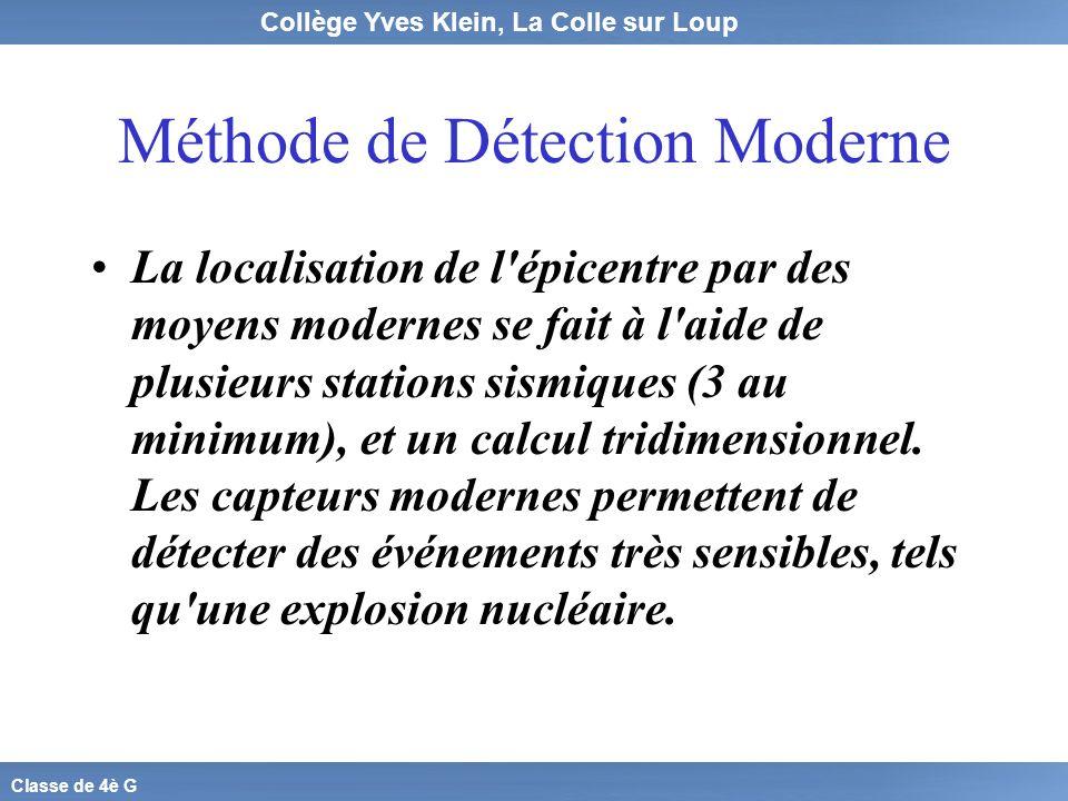 Collège Yves Klein, La Colle sur Loup Classe de 4è G Méthode de Détection Moderne La localisation de l'épicentre par des moyens modernes se fait à l'a