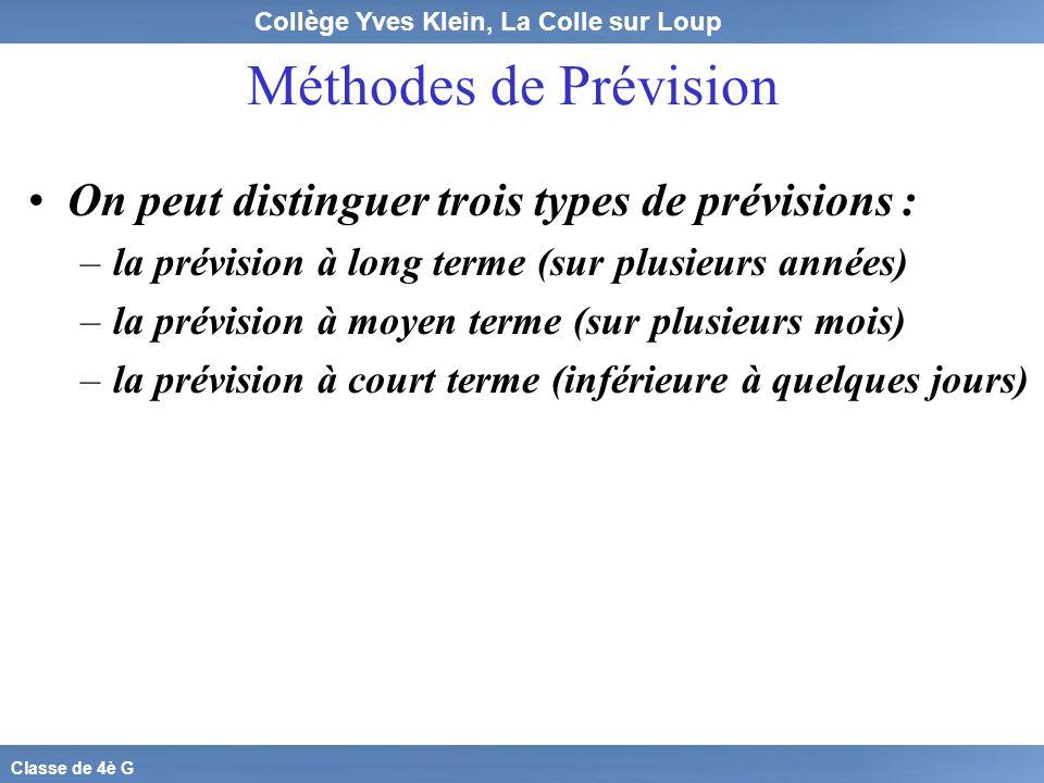 Collège Yves Klein, La Colle sur Loup Classe de 4è G Méthodes de Prévision On peut distinguer trois types de prévisions : –l–la prévision à long terme
