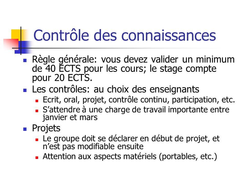 Contrôle des connaissances Règle générale: vous devez valider un minimum de 40 ECTS pour les cours; le stage compte pour 20 ECTS. Les contrôles: au ch