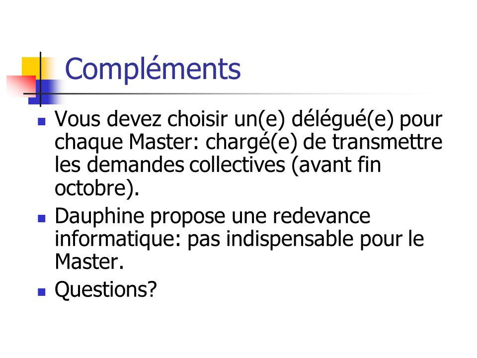 Compléments Vous devez choisir un(e) délégué(e) pour chaque Master: chargé(e) de transmettre les demandes collectives (avant fin octobre). Dauphine pr