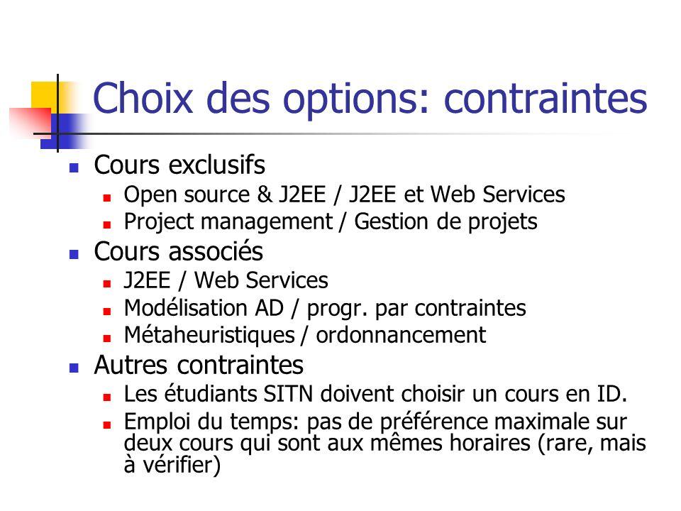 Choix des options: contraintes Cours exclusifs Open source & J2EE / J2EE et Web Services Project management / Gestion de projets Cours associés J2EE /