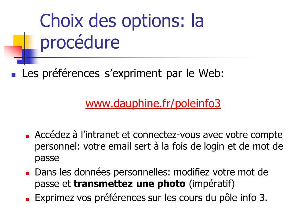 Choix des options: la procédure Les préférences sexpriment par le Web: www.dauphine.fr/poleinfo3 Accédez à lintranet et connectez-vous avec votre comp