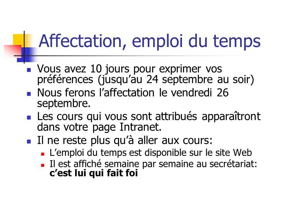 Affectation, emploi du temps Vous avez 10 jours pour exprimer vos préférences (jusquau 24 septembre au soir) Nous ferons laffectation le vendredi 26 s